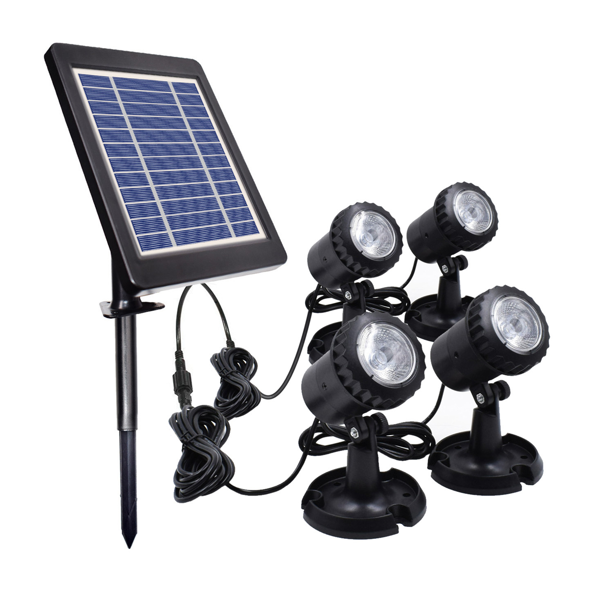 IP68 4 In1 Waterproof Underwater Fountain Pond Lights Solar Light LED Spotlights with Green/Blue/White Lamps for Outdoor Amphibious Lawn Pool Garden Path Aquarium