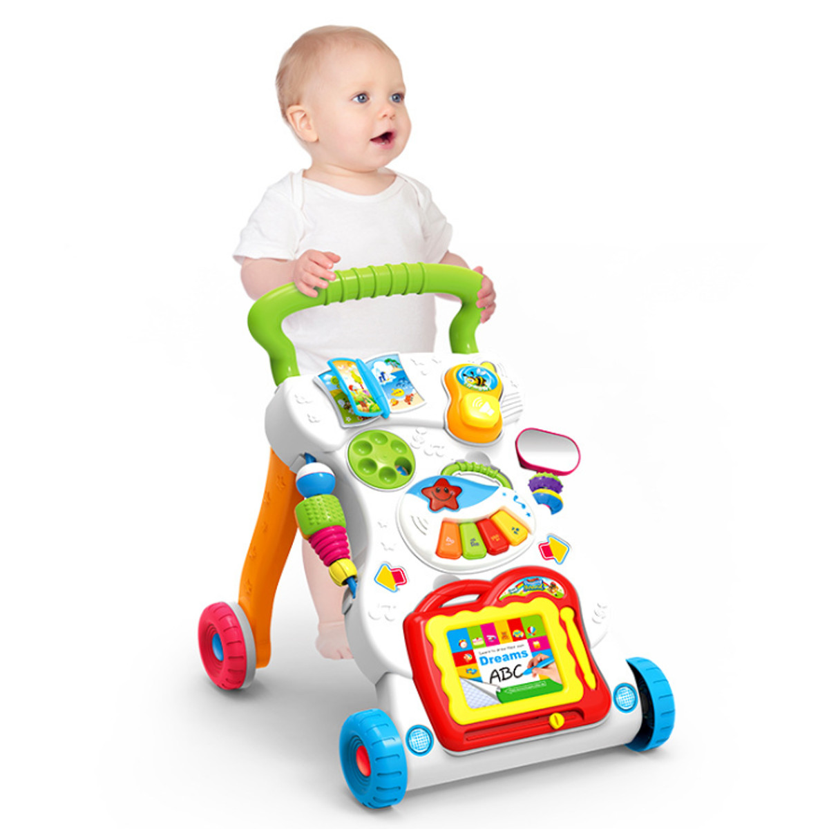 Multifunctional Baby Walker Infant Stand-To-Sit Toddler Four Wheels Learning Walking Toys Piano Drawing Gift for 6-12 Months