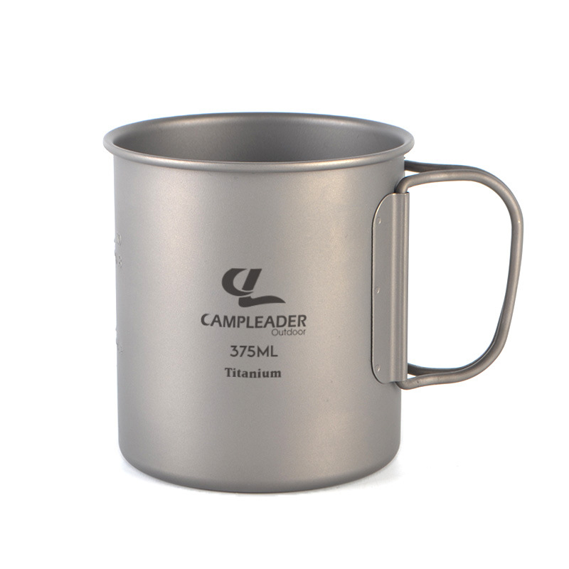 Campleader 375Ml Folding Cup Titanium Portable Drinking Water Mug Outdoor Camping Picnic BBQ Tableware