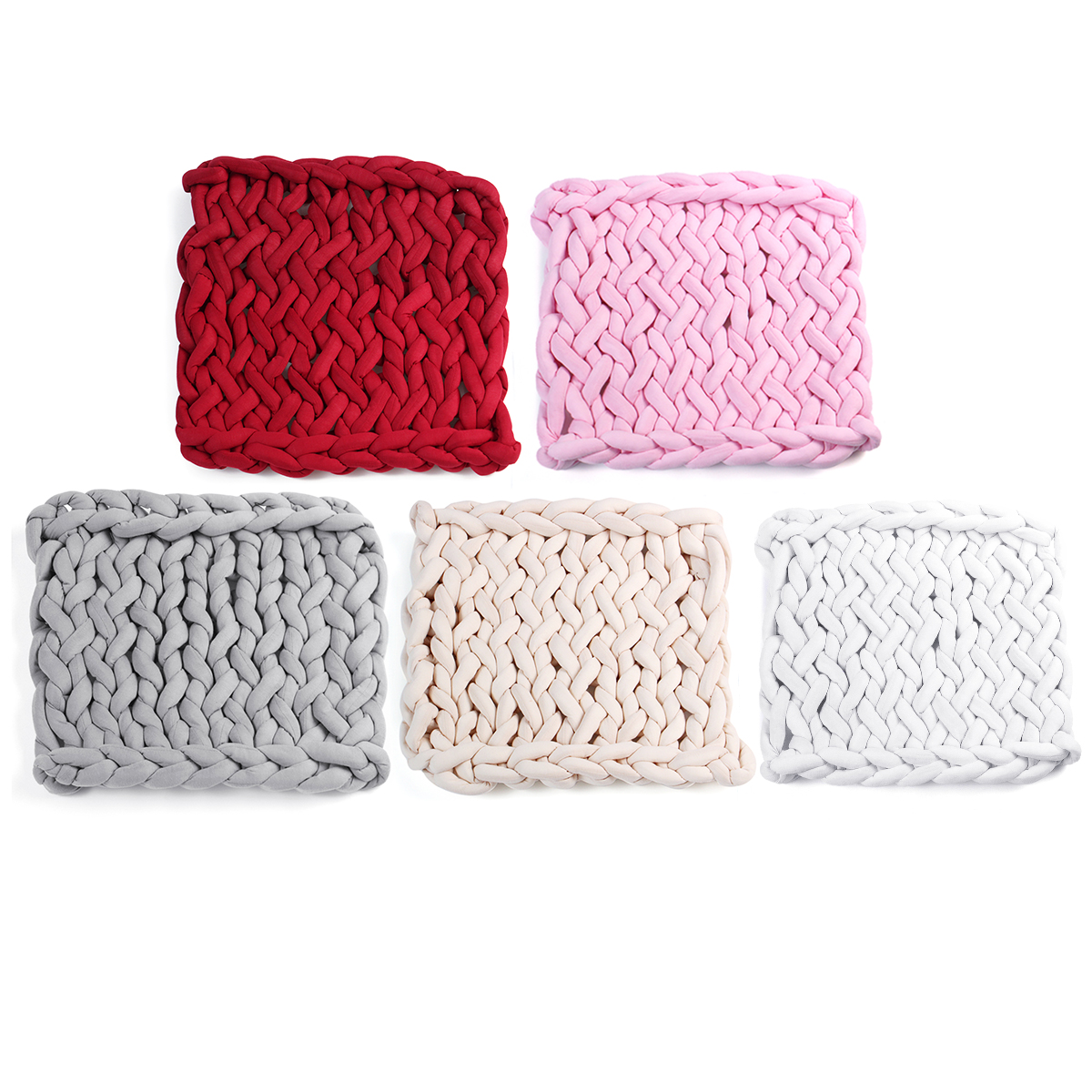 50 X 50Cm Handmade Knitted Blanket Cotton Soft Washable Lint-Free Throw Multicolored Thick Thread Blankets