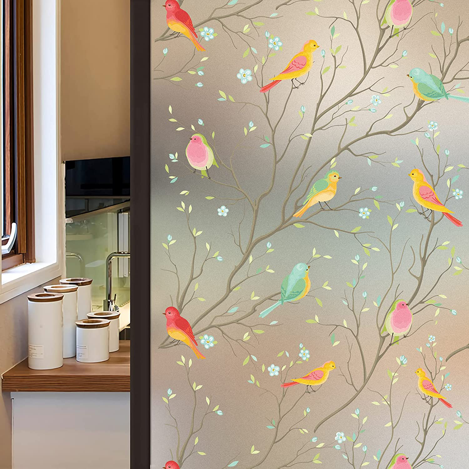 3D Matte Window Sticker Colorful Bird Non-Adhesive Frosted Glass Static Cling Stained Sticker