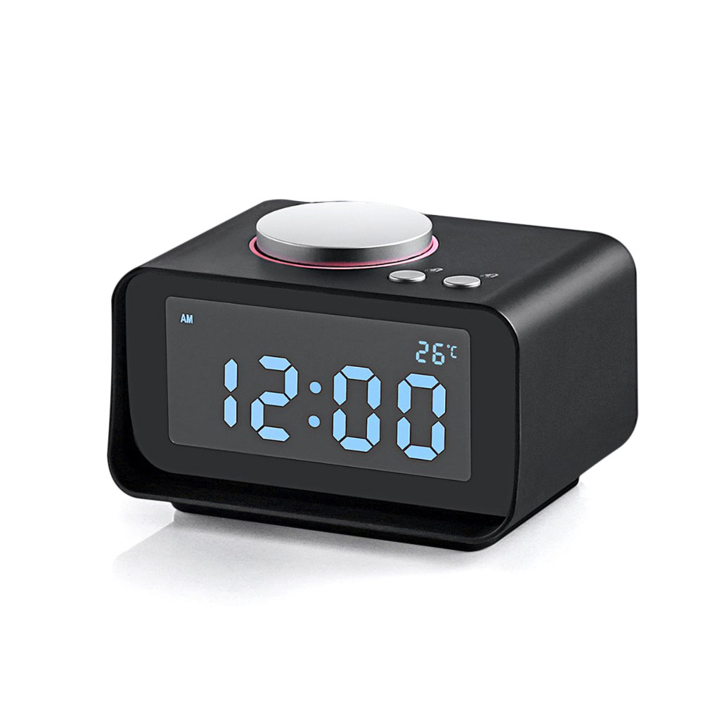 DC-14 LCD Digital Snooze FM Radio AUX in and Dual USB Charging Ports Alarm Clock
