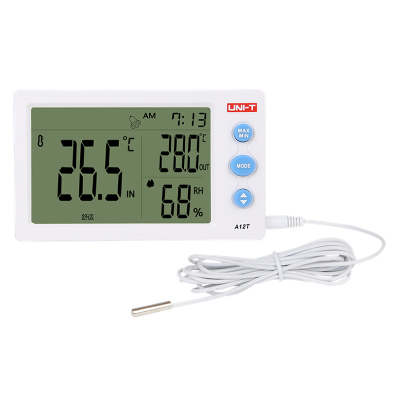 UNI-T A12T Digital LCD Thermometer Hygrometer Temperature Humidity Meter Alarm Clock Weather Station Indoor Outdoor
