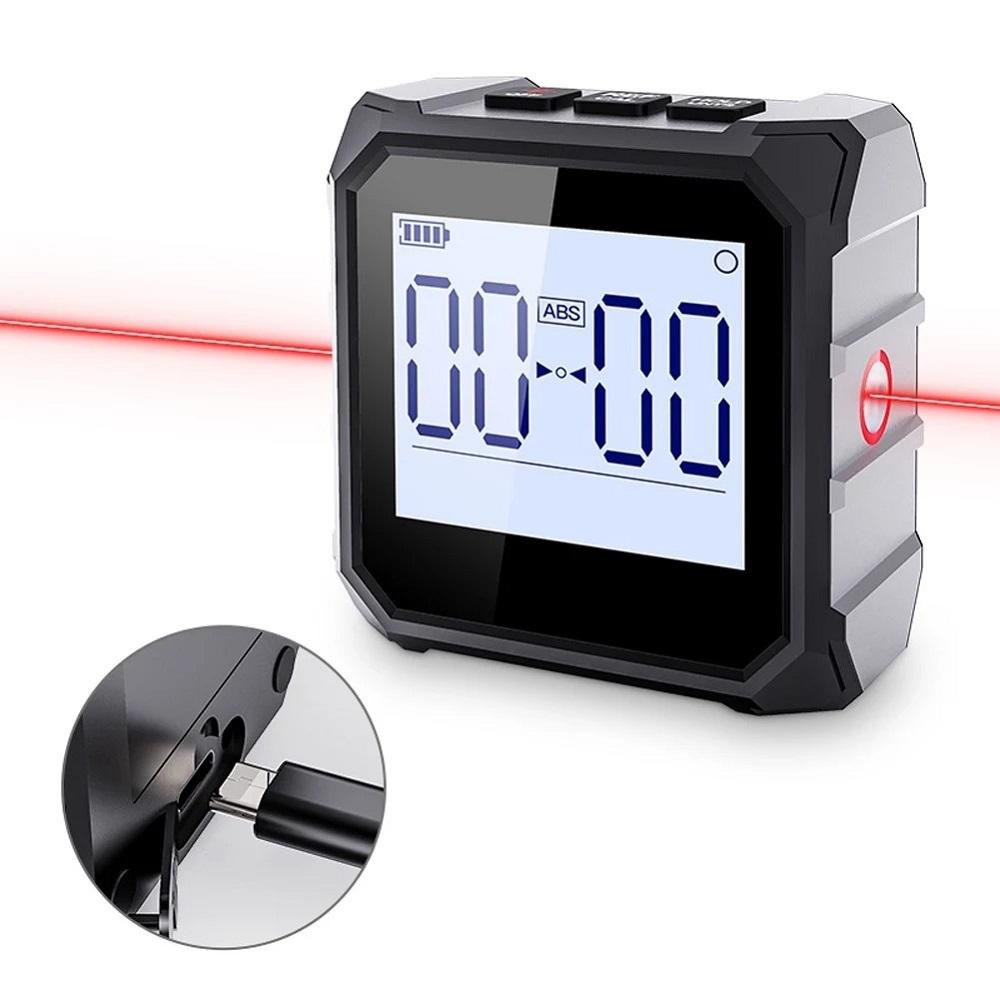 MESTEK 4*90° Dual Laser Digital Protractor High Precision Inclinometer with 1.44-Inch HD LCD Backlight Display