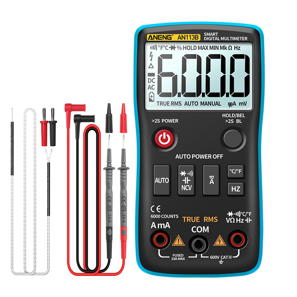 ANENG AN113B Digital Multimeter True RMS with Temperature Tester 6000 Counts Auto-Ranging AC/DC Transistor Voltage Meter