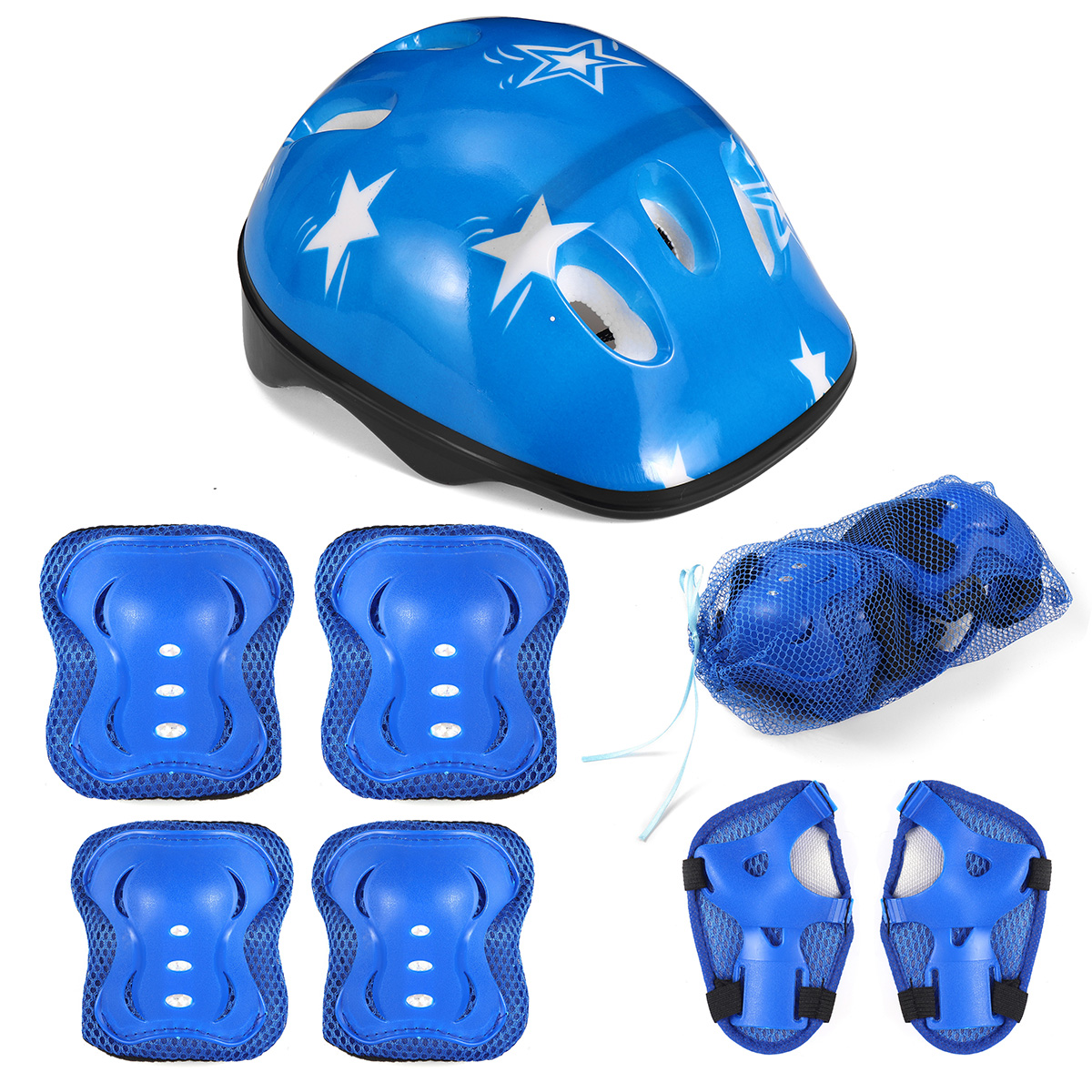7Pcs Elbow Knee Wrist Protective Guard Elbow Pads Safety Gear Pad Wrist Guard Skateboard Protective Gear Kids Christmas Gifts