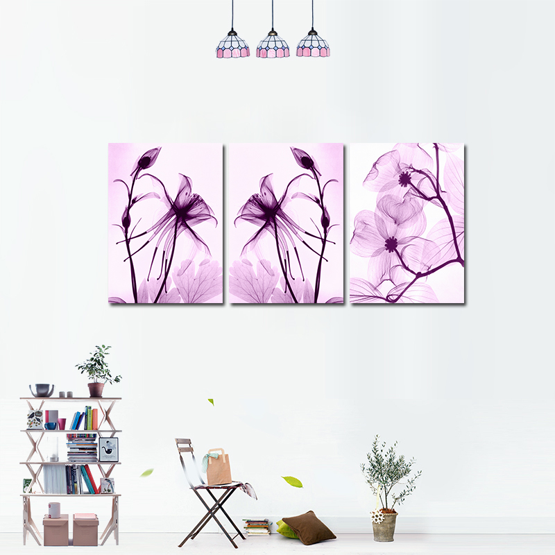 Miico Hand Painted Three Combination Decorative Paintings Botanic Purple Flowers Wall Art for Home Decoration