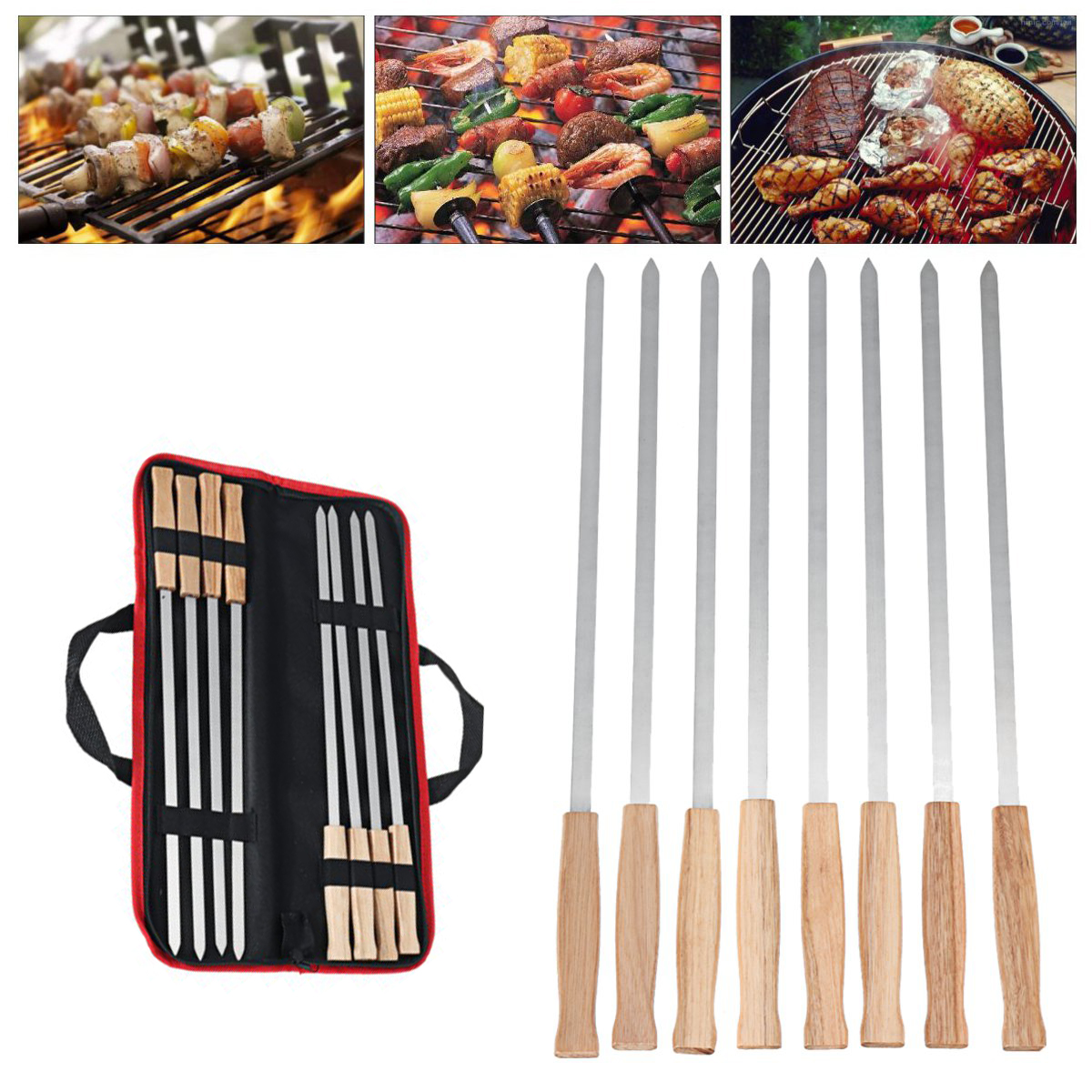 6Pcs Kebab BBQ Stainless Steel Skewers with Wooden Handles Roasting Pin Barbecue Fork Wooden Handle for Picnic
