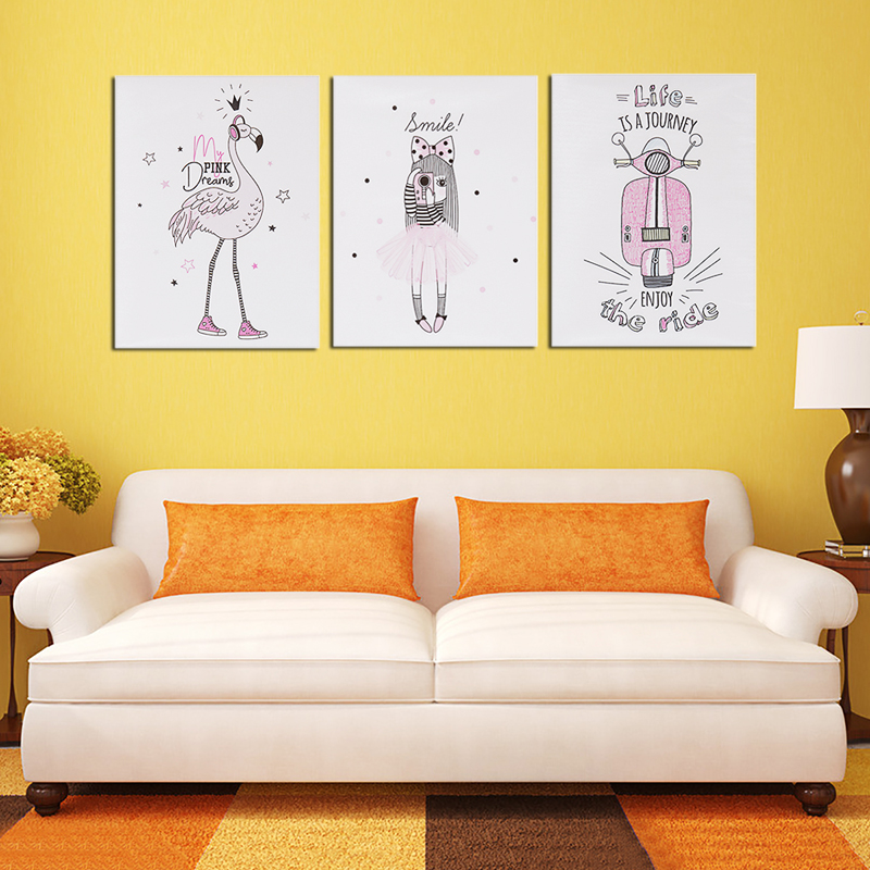 Bedroom Bedside Hanging Paintings Print Children Room Frameless Wall Art Pictures