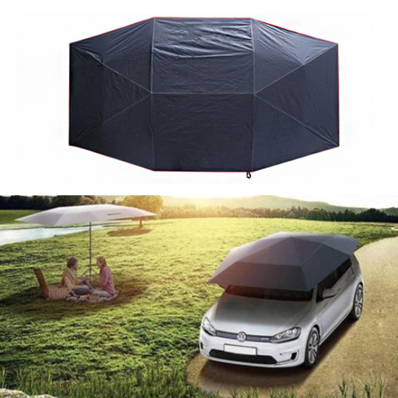 400X210Cm Rooftop Tent Folded UV Oxford Cloth Car Umbrella Waterproof Car Tent Sunshade Movable Carport Canopy for Outdoor Camping Tent