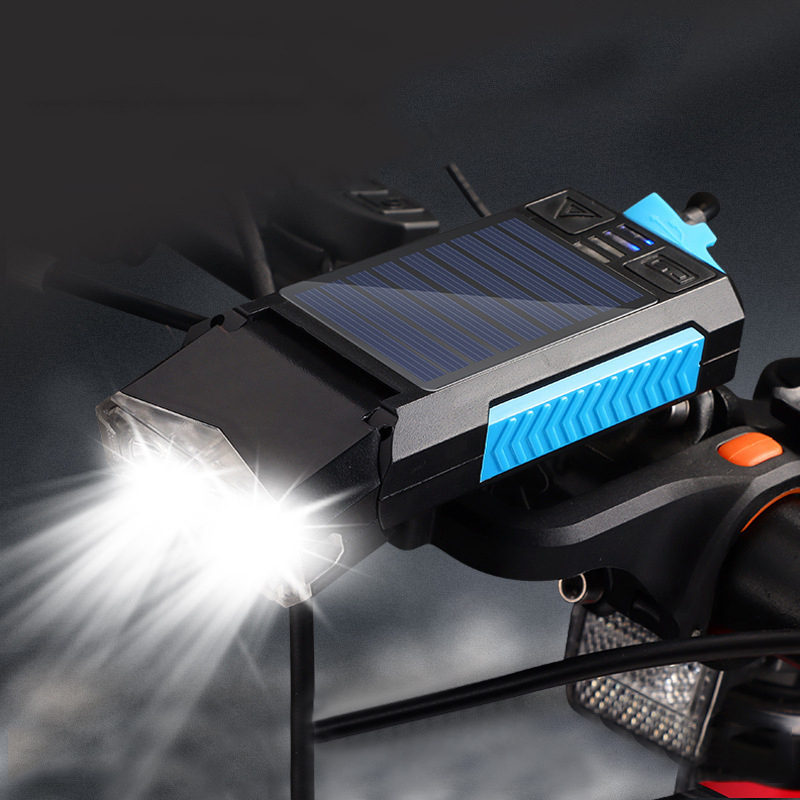 XANES® 5-In-1 Solar Bike Headlight 2000Mah 400LM 4 Modes Bicycle Front Lamp 130Db Horn USB Rechargeable Power Bank Outdoor Cycling