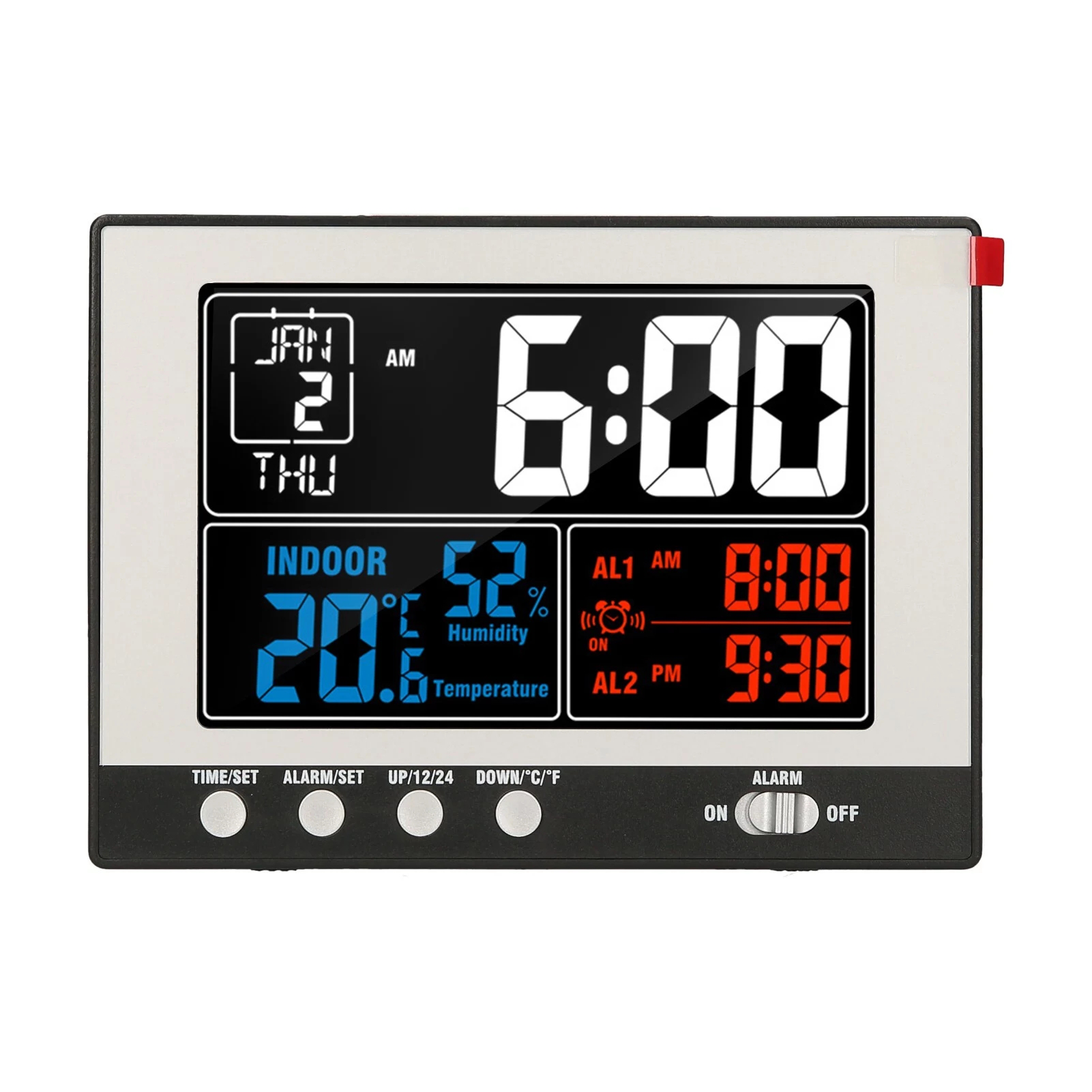 Digital Multifunctional Alarm Clock Indoor Temperature Humidity Monitor Thermo-Hygromete Large Color Display with Backlight Perpetual Calendar