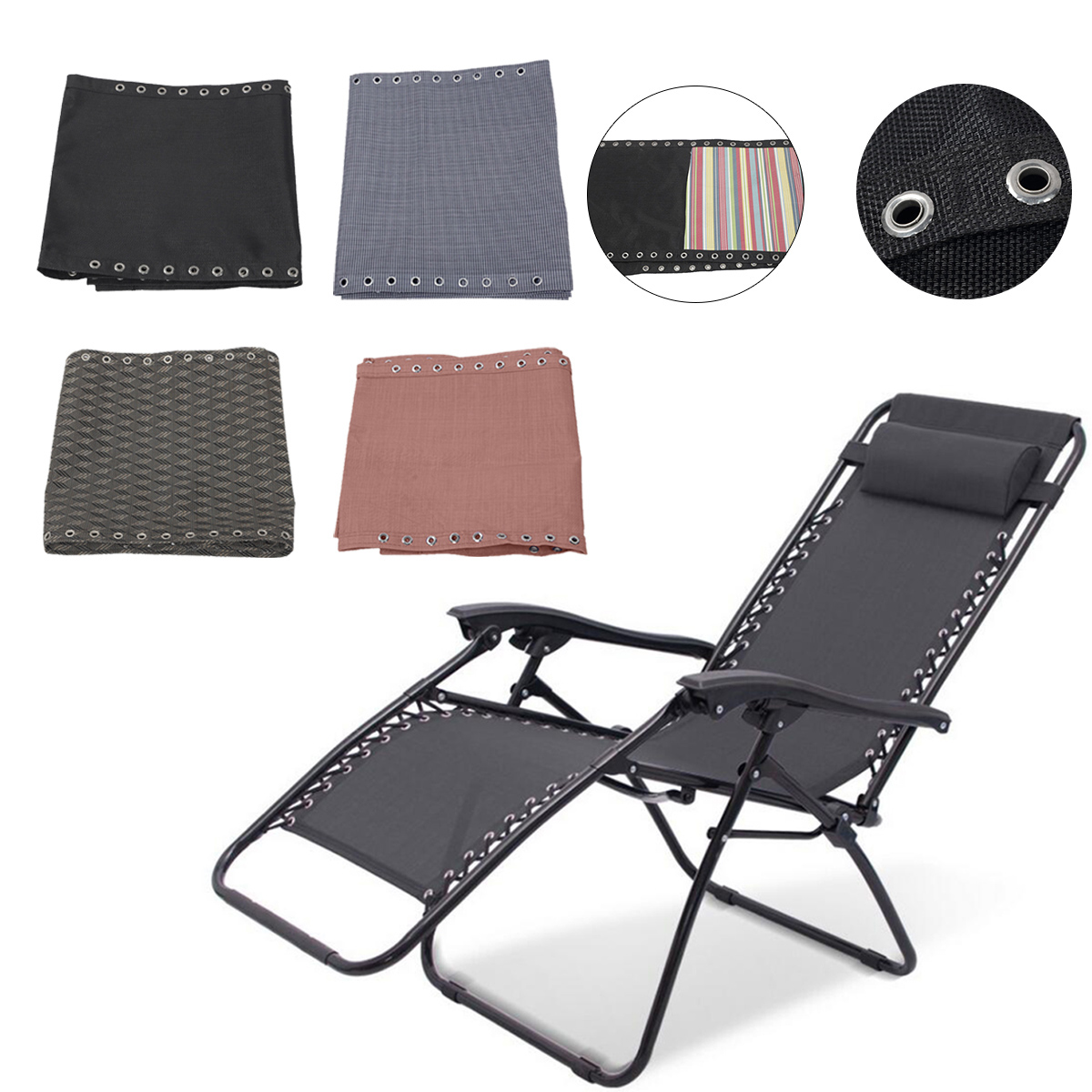Couch-Cloth Sling-Chairs Replacement Fabric Cloth Lounge Chair Breathable Soft Folding Recliners Cloth 63X17Inch Camping Travel
