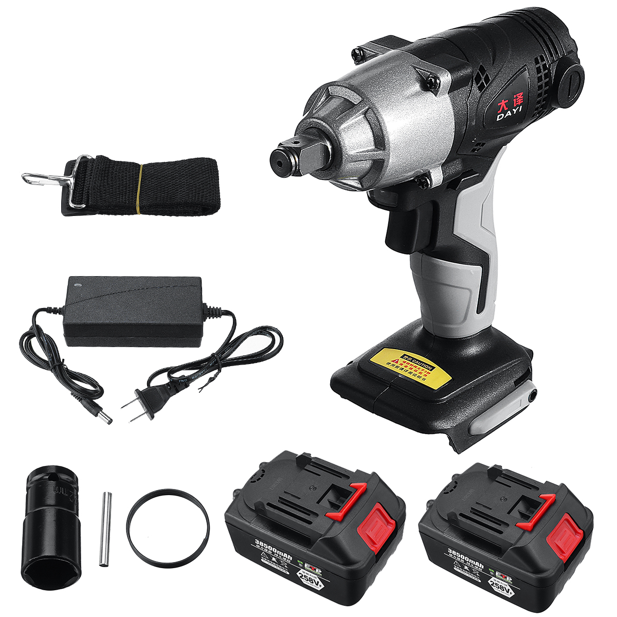 258VF Cordless Brushless Electric Impact Wrench Rechargeable Wrench Screwdriver Power Tool W/ 1/2Pcs Battery