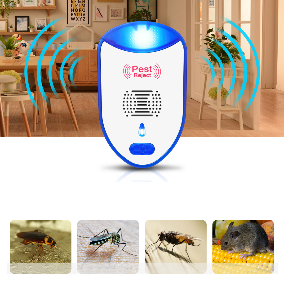 2PCS Multi-Functional Mosquito Repeller Inverter Ultrasonic Mouse Repeller Indoor and Outdoor Insect Exterminator