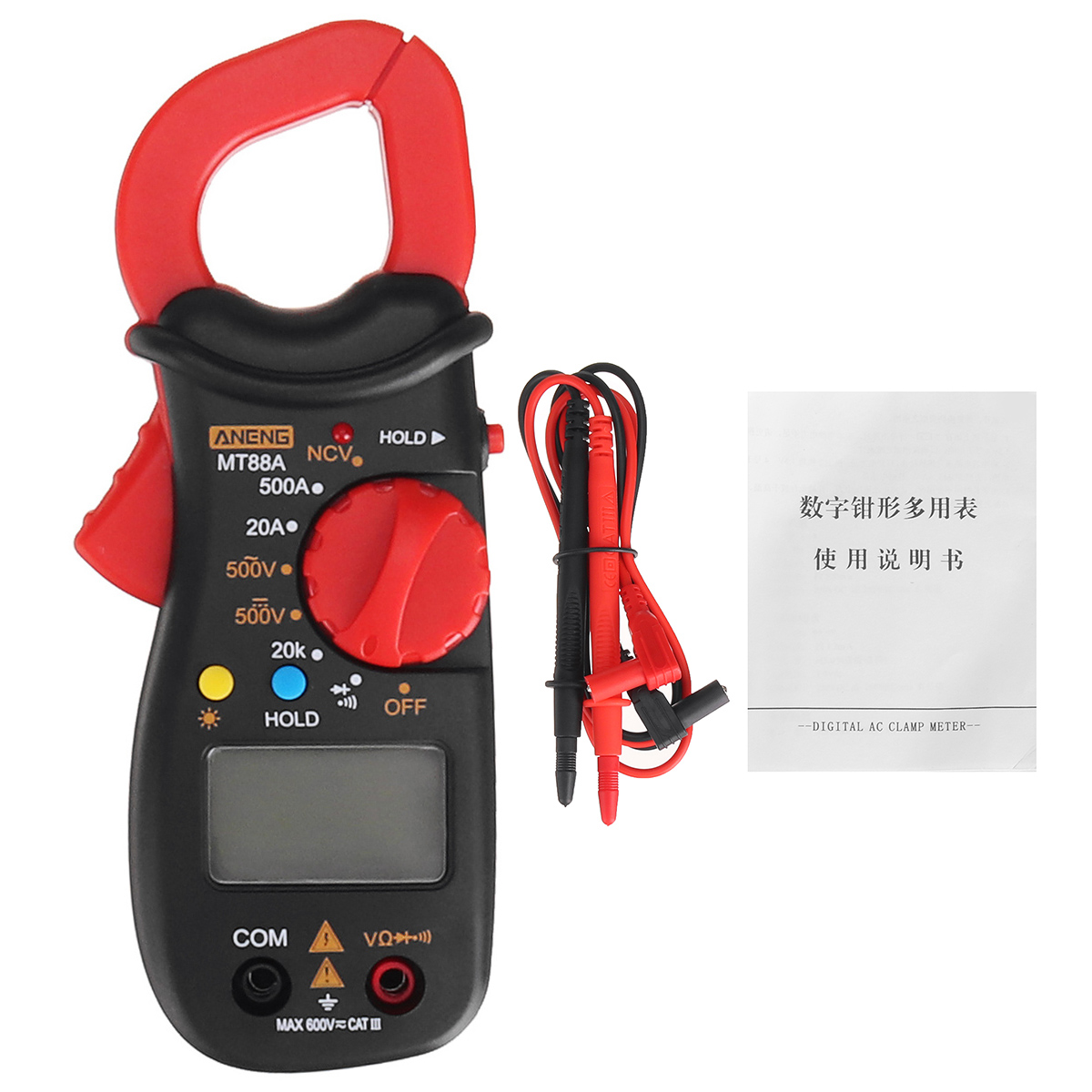 ANENG MT88A Digital Clamp Meter Multimeter DC/AC Voltage AC Current Tester Frequency Capacitance NCV Tester Measuring Tool