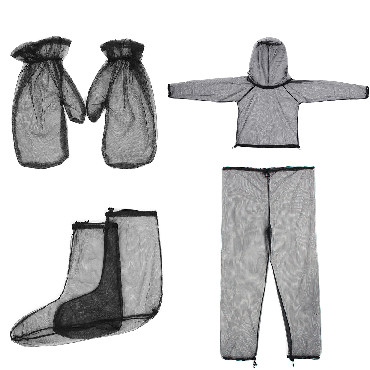 4PCS Jacket+Pants+Gloves+Feet Mosquito-Proof Suit Lightweight High-Density Mesh Outdoor Traveling Camping Clothing Suit