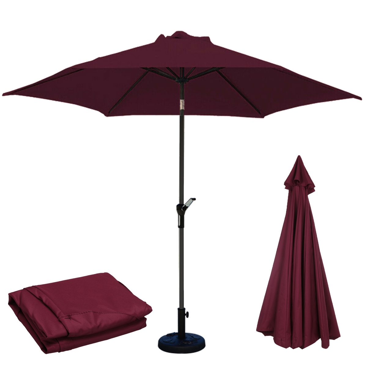 3M 6 Arm Parasol Canopy Cover Waterproof Awning Sun Shade Shelter Replacement Cloth Outdoor Garden Patio