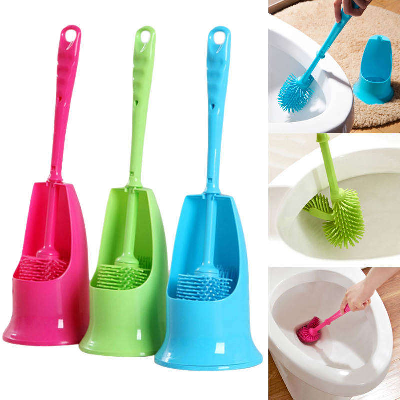 Cylinder Handle Toilet Brush & Base Plastic Cleaning Brush Long Double-Sided Portable Bathroom Acces