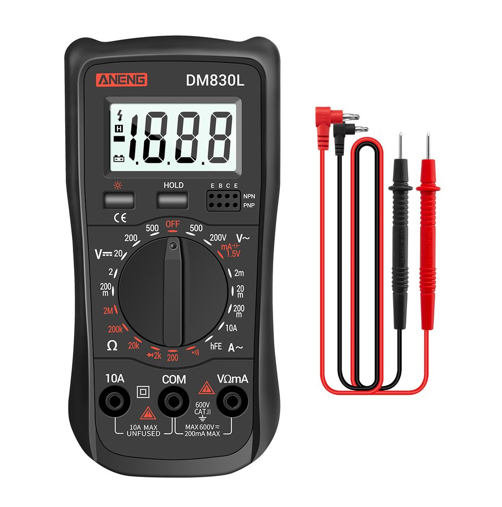 ANENG DM830L Digital Multimeter Meter Testers 1999 Count Electrical Transistor Capacitance DC / AC Multimeter with LCD Backlight