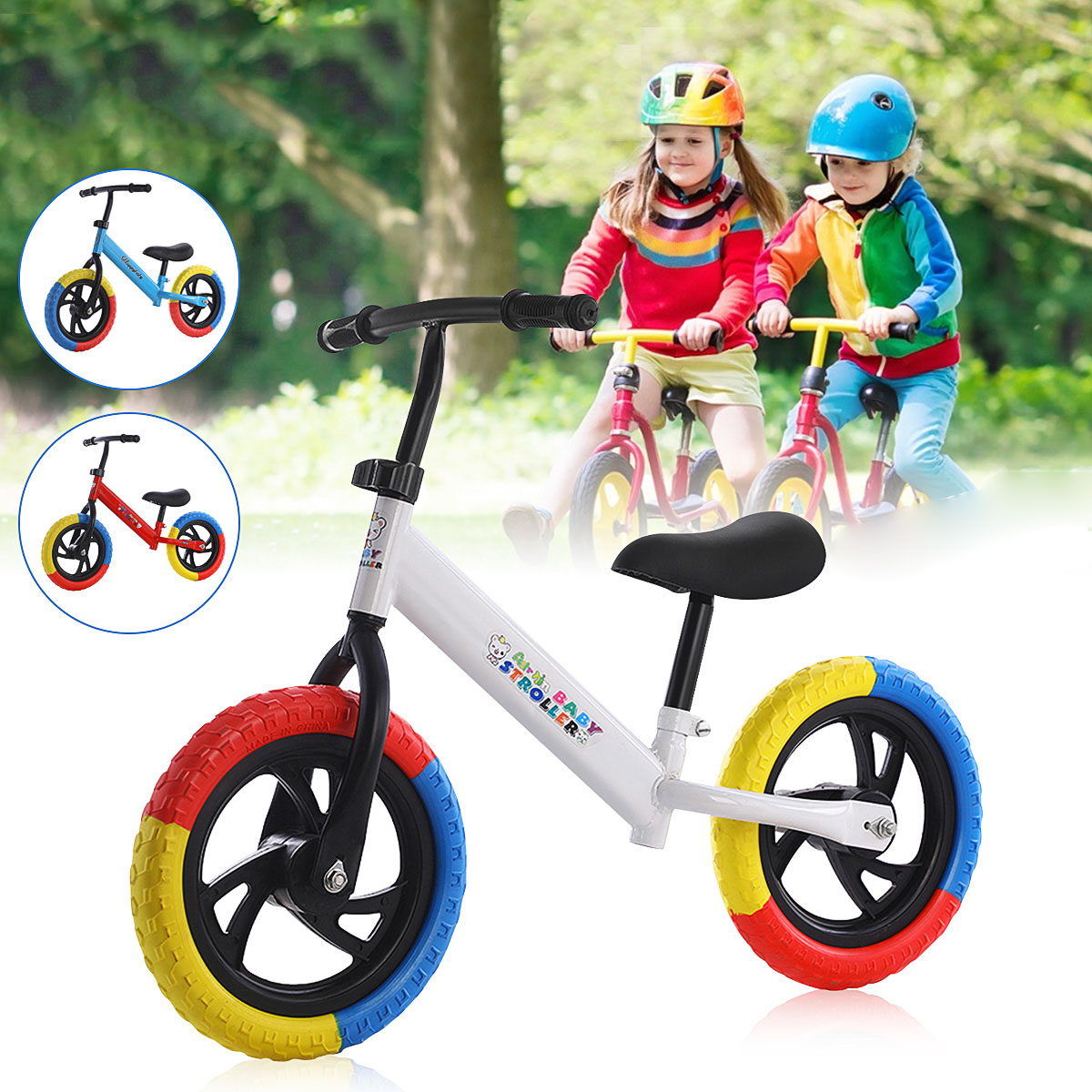12'' Kids Balance Bike Baby No-Pedal Adjustable Toddler Riding Walking Learning Scooter for 2-7 Years Old