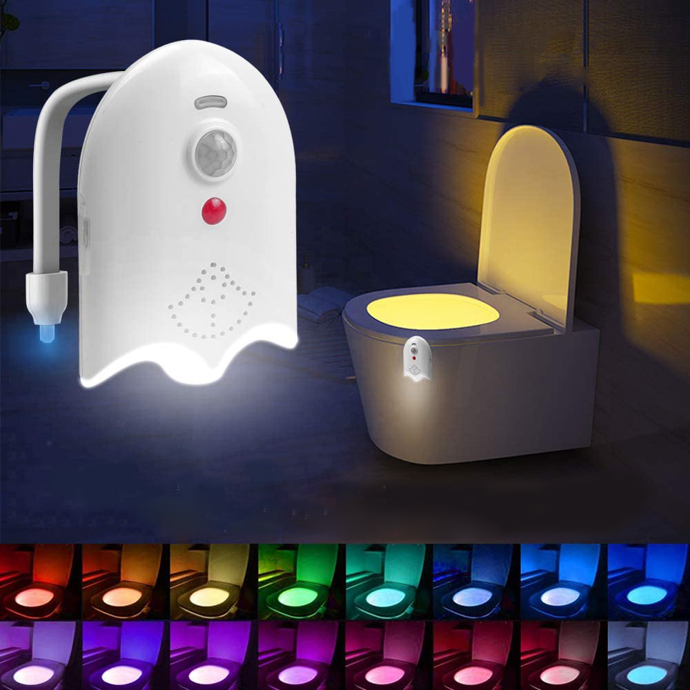 Automatic Motion Sensor Toilet Night Light 16 Colors Rechargeable Toilet Aroma Lamp Toilet Bowl Night with Aromatherapy Tablets
