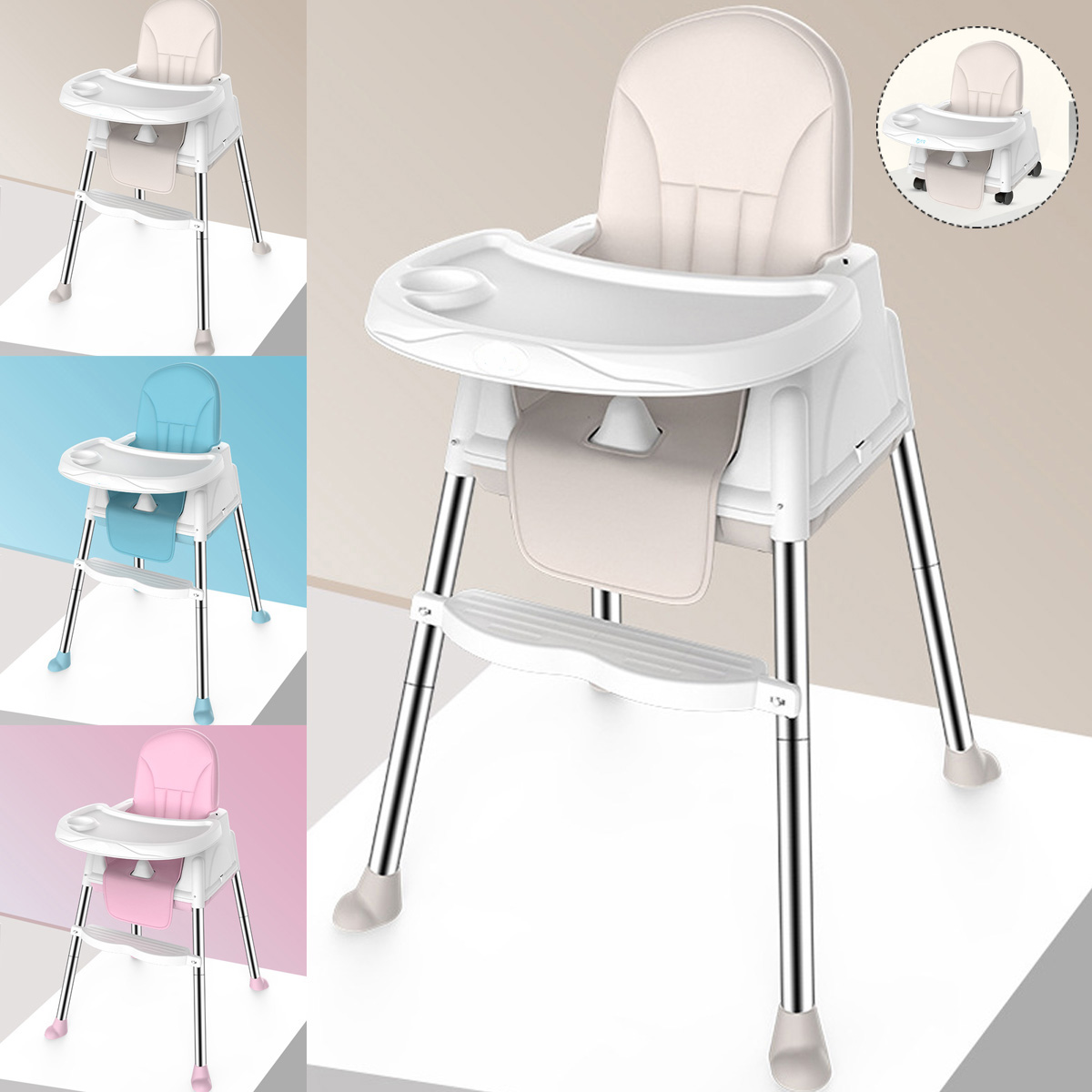 Foldable Portable Kids Baby High Chair 6 - 36 Months Wheeled Seat Cushion Small Household Childrens Chair Supplies