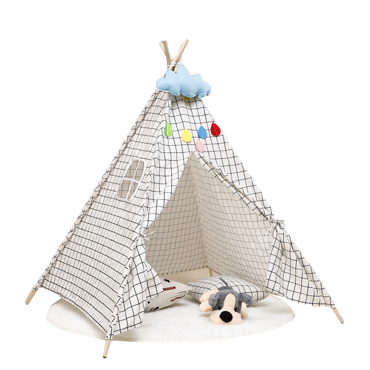 135Cm Kids Teepee Play Tent Pretend Playhouse Indoor Outdoor Children Toddler Indian Canvas Playhouse Sleeping Dome W/ Package Bag Gift