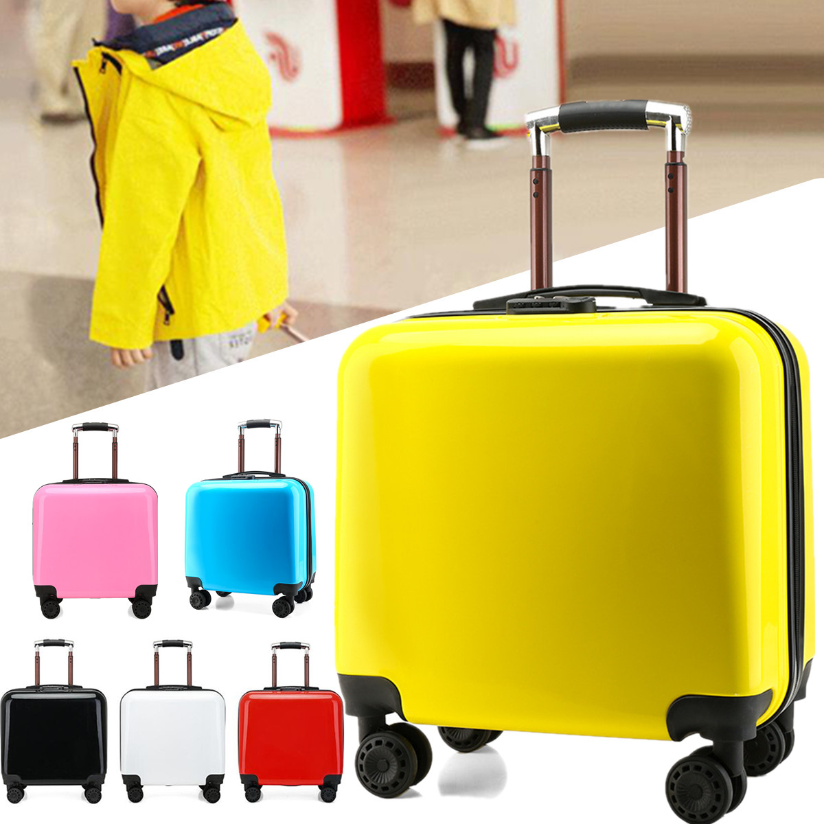 Hard Shell Cabin Size 18'' Suitcase Travel Luggage Spinner Bag Lightweight
