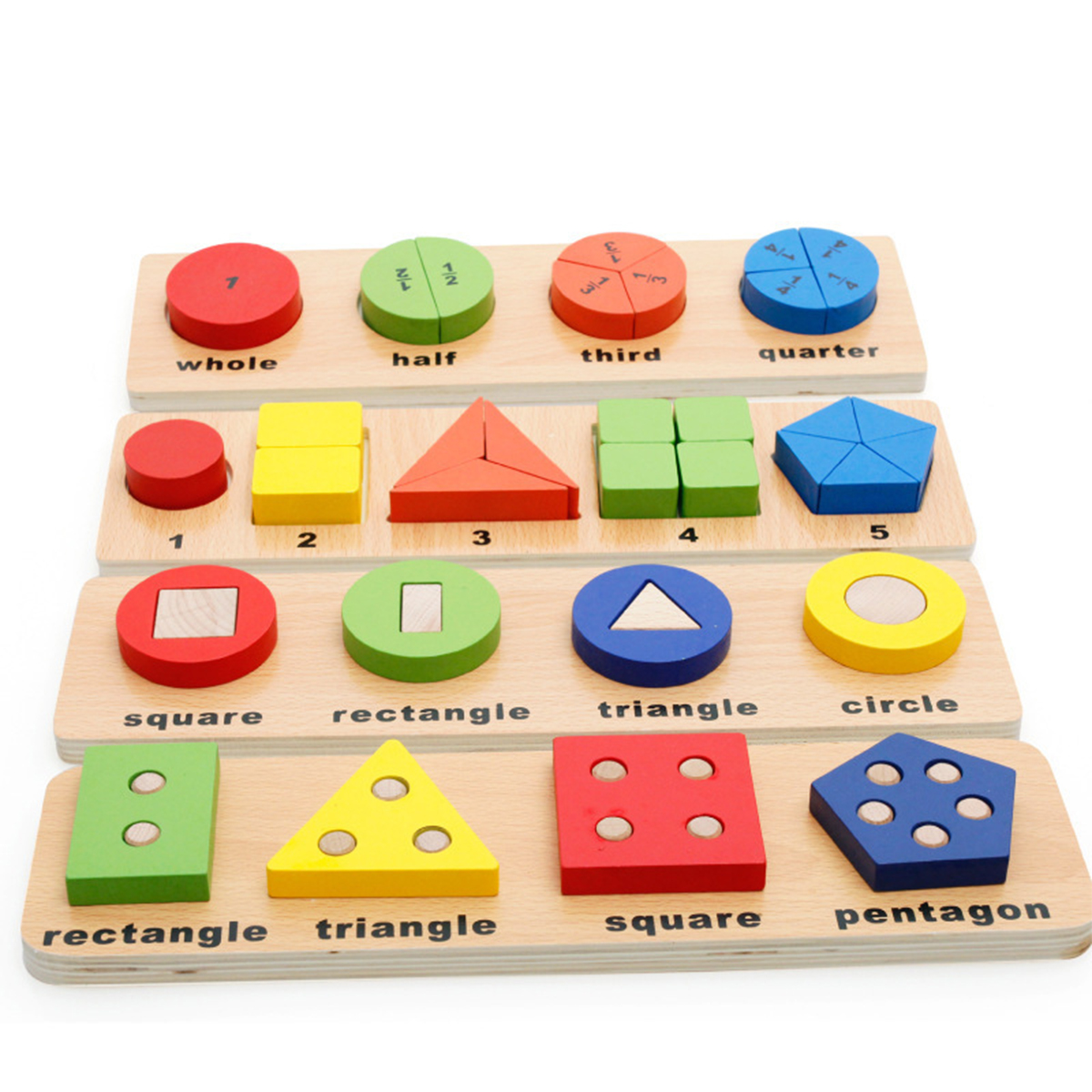 Wooden Geometric Matching Blocks Kids Baby Educational Toys Inlay Building Block Teaching Aid Toy Gift
