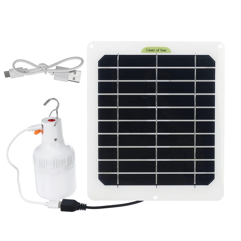 20W USB Solar Panel Power 80W 3 Modes Adjustable LED Bulb Tent Lamp Camping Light Outdoor Travel Fishing