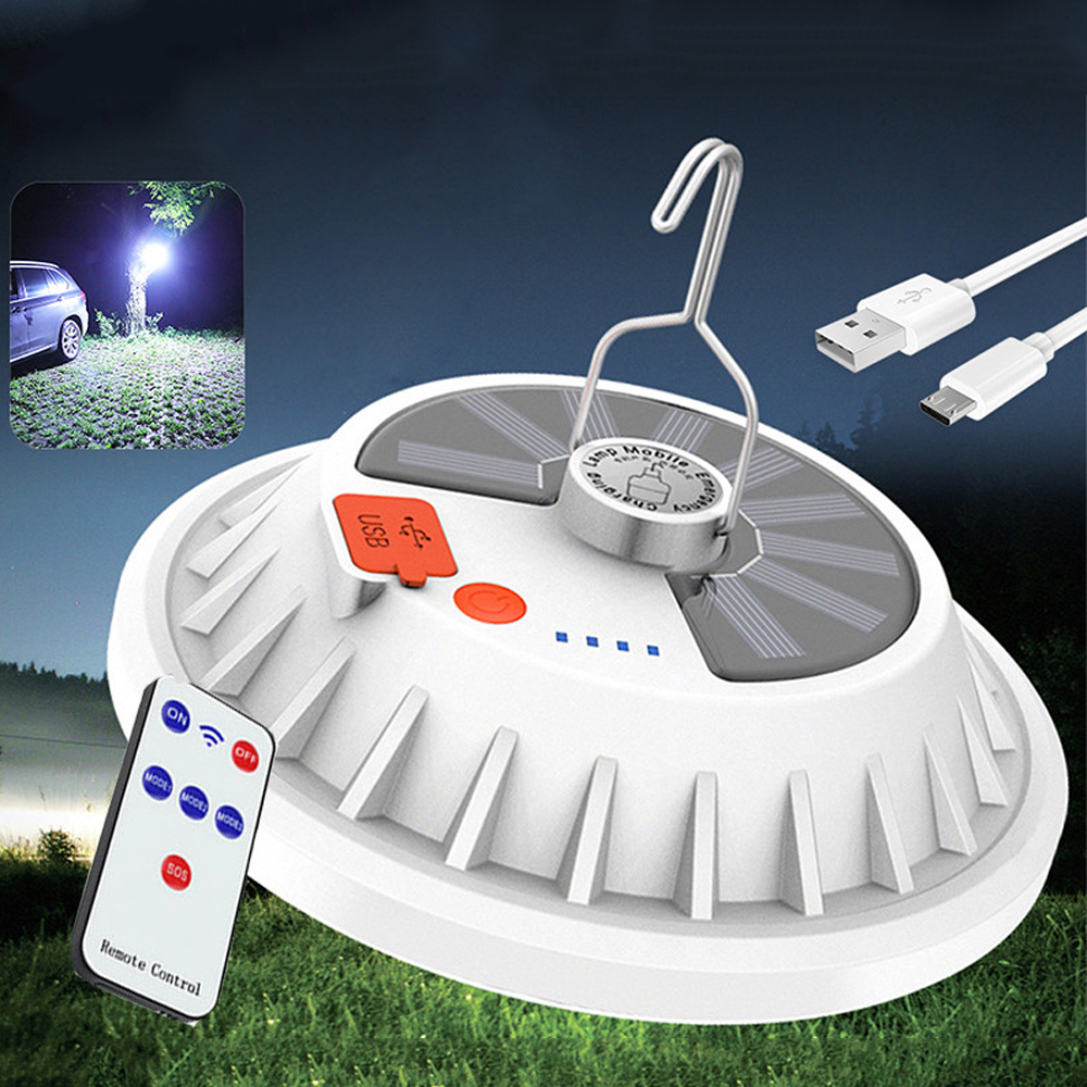 XANES® 2 in 1 300W Solar LED Camping Light Remote Control Tent Light Hang Fishing Night Light Emergency Work Lamp Power Bank