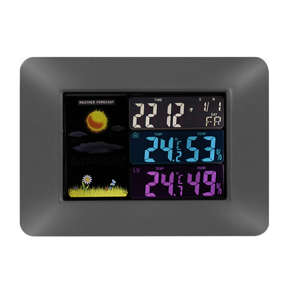 Multi-Functional Wireless Digital Thermometer Hygrometer Colorful LCD Weather Forecast Clock