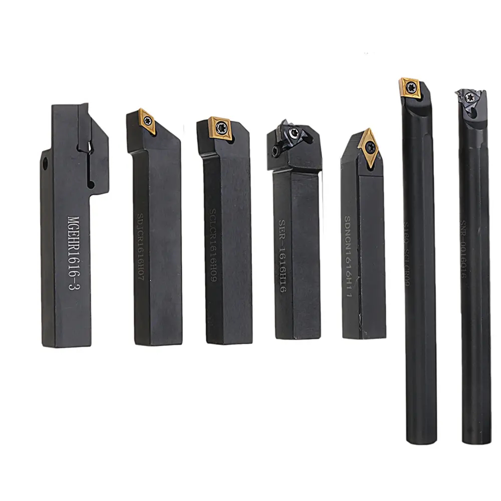7Pcs 16Mm Shank Lathe Turning Tool Holder Boring Bar CNC Tools Set with Carbide Inserts and Wrenches Hard Alloy