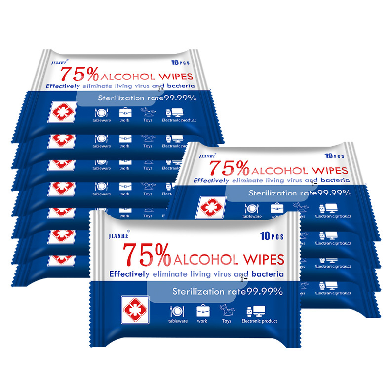 5 PCS 10 Sheets/Pack 75% Alcohol Wipes Portable Hand Towel Swabs Pads Disinfection Cleaning Wet Wipes Outdoor Cleaning Sterilization Wipes Paper