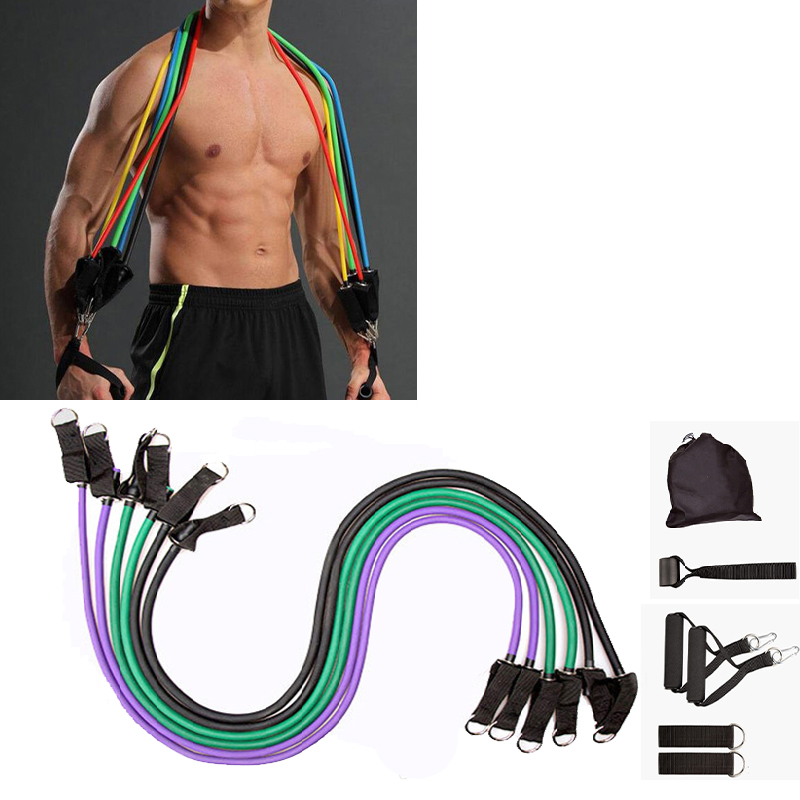 10-16Pcs/Set Resistance Bands Yoga Rubber Tubes Home Fitness Pull Rope Gym Exercise Tool