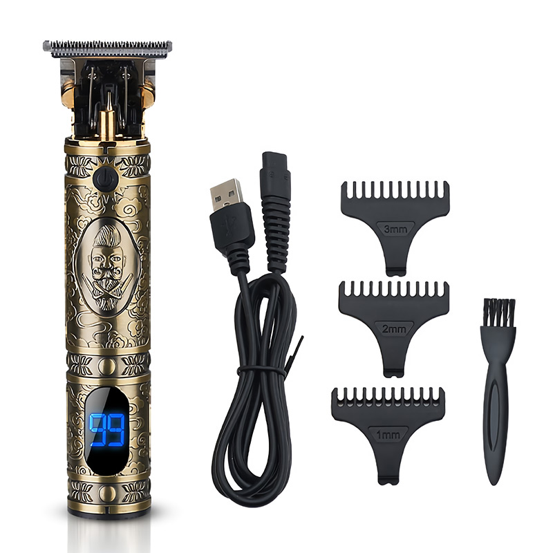 USB Professional Hair Clipper Retro Oil Head Clipper Beard Trimmer Shavers Hari Grooming Cutting Finishing Cutting Machine Trimmer T-Outliner for Men Kids Hair Carving