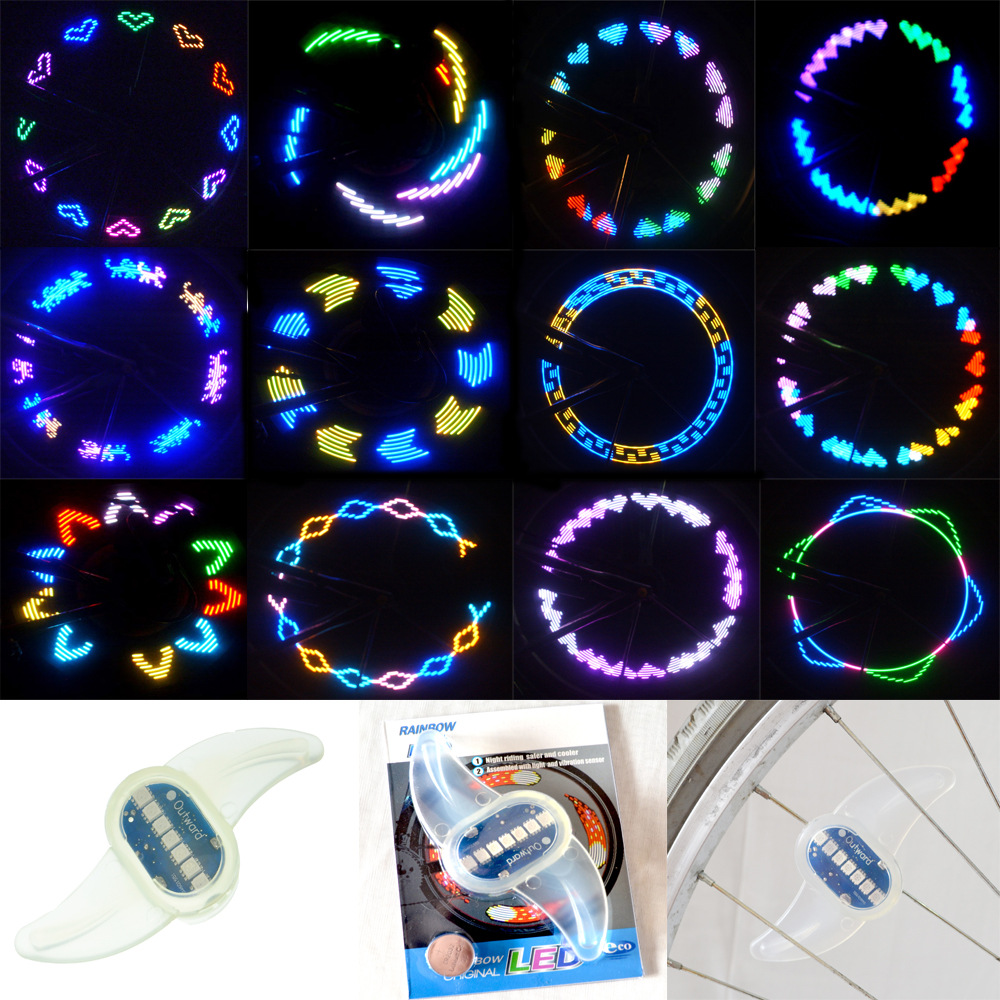 BIKIGHT 30 Colorful Patterns Bike LED Light Bicycle Cycling Spoke Wire Tire Tyre Wheel LED Bright Bicycle Spoke Light DIY Accessories