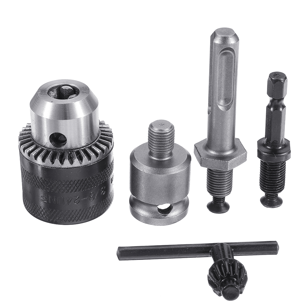 Drillpro 5Pcs 1.5-10Mm 3/8-24UNF Drill Chuck Set Drill Adapter Changed Impact Wrench into Eletric Drill