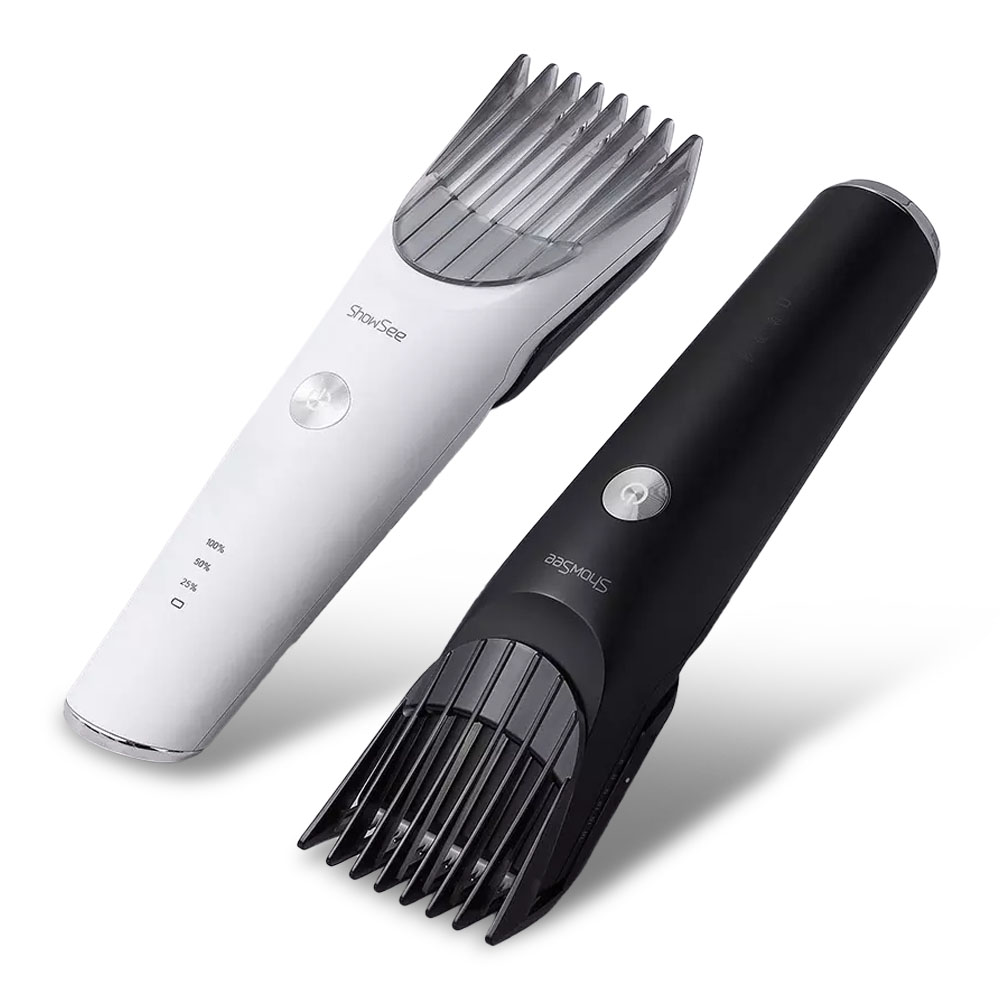 Showsee C2-W/BK Electric Hair Clipper Portable Household USB Charging Hari Cut Machine IPX7 Waterproof Ceramic Steel Cutter From