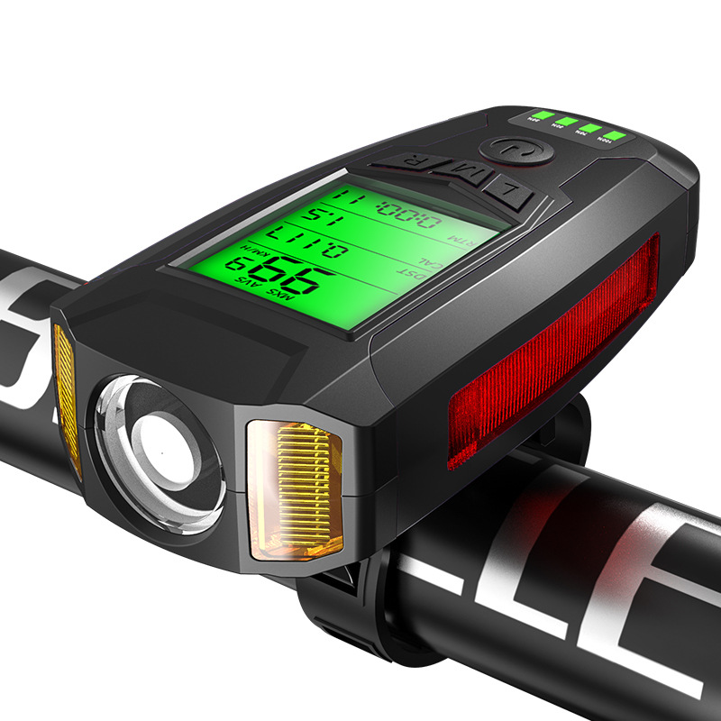 Black BIKIGHT 3-In-1 350LM COB Bike Light + USB Horn Lamp + Speed Meter LCD Screen 5-Modes Waterproof Bicycle Headlight with Horn