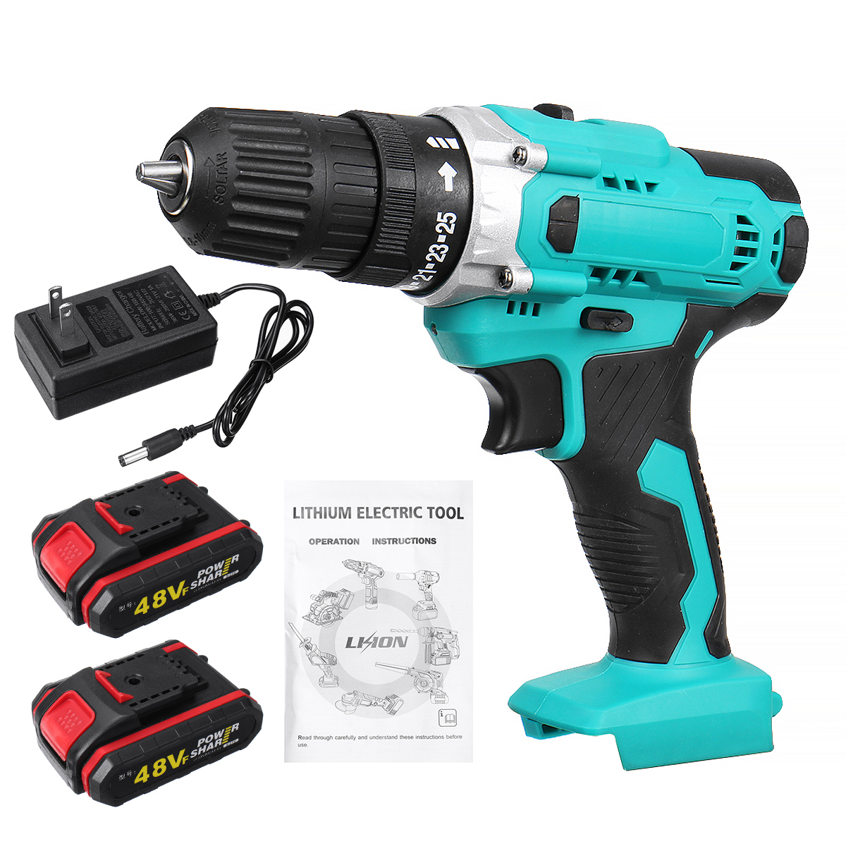 48Vf 3 in 1 Multifunctional Cordless Drill Electric Torque Wrench Screwdriver Drill 3/8-Inch Chuck Cordless Impact Drill