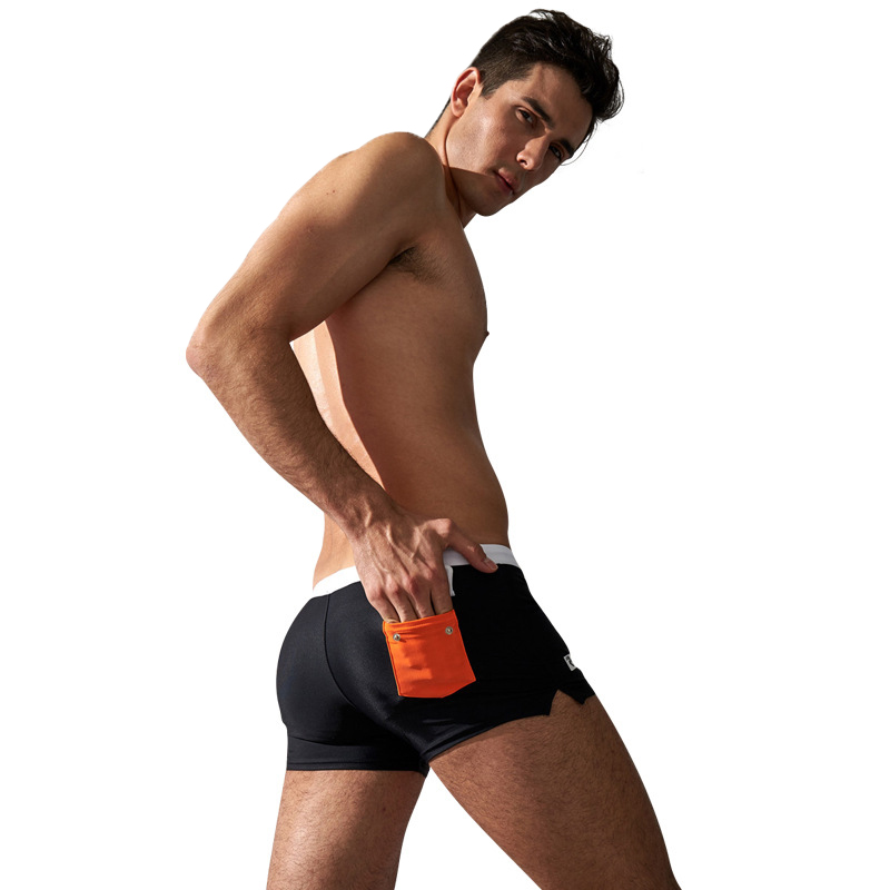 AQUX 5185 Men Boxer Shorts Swimming Trunks with a Button Pocket Fast Drying Beach Sexy