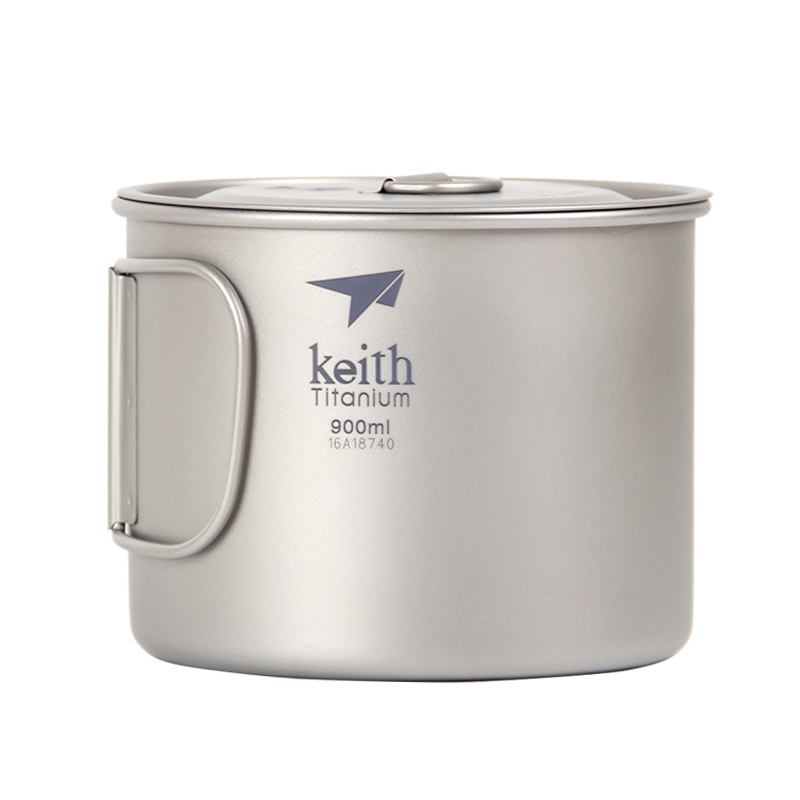 Keith Ti3209 Titanium 900Ml Folding Handle Soup Pot Lightweight Noodles Cup Water Cup Camping Travel Picnic