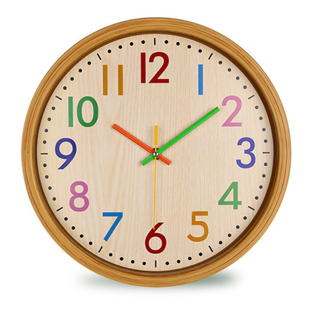 12Inch Nordic Creative Wood Grain Colorful Silent Quartz Hanging Wall Clock for Living Room Home Decoration
