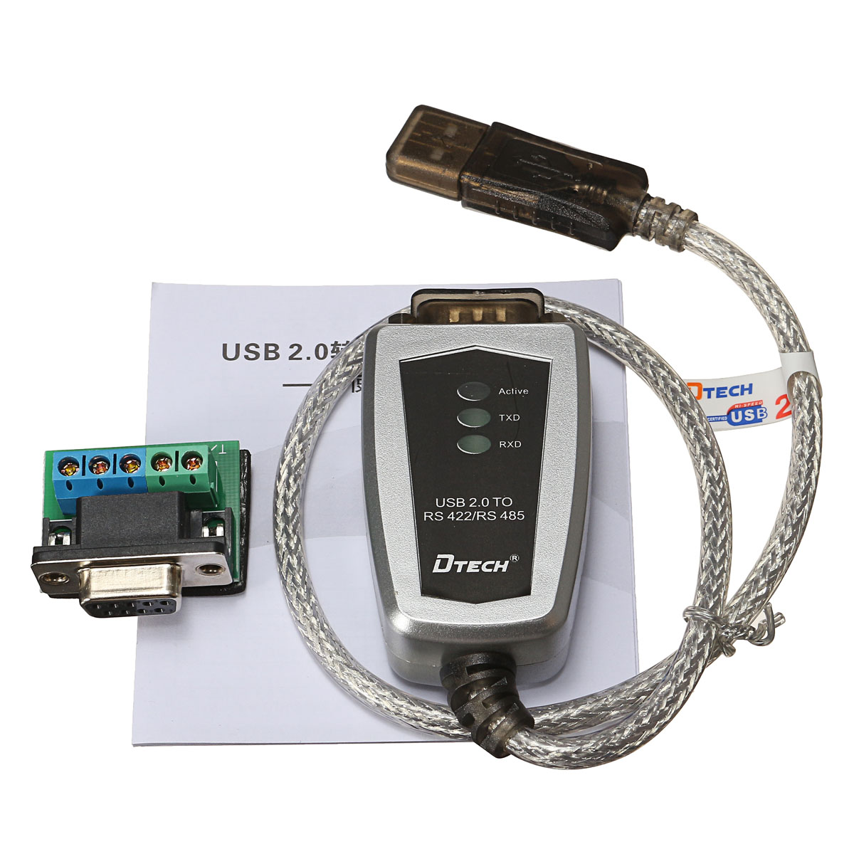 USB to RS485 RS422 Serial DB9 to Termi Serial Converter Adapter Cable