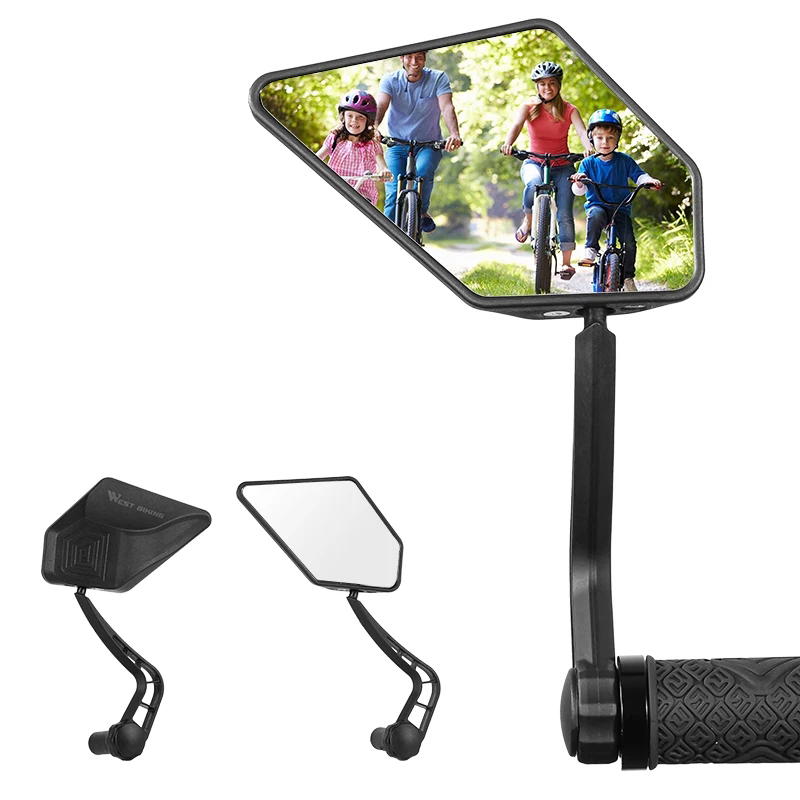 WEST BIKING 1 Pair Bicycle Rear View Mirror HD Wide Angle 360 Degree Rotate Cycling MTB Road Bicycle Handlebar End Rearview Mirrors