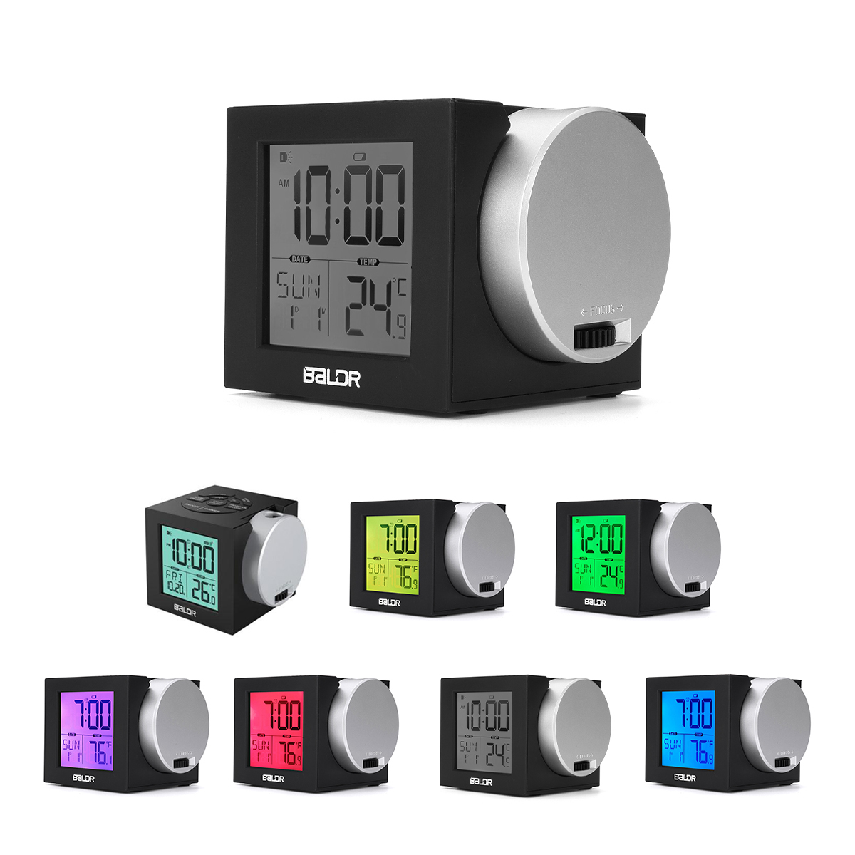 Digital LED Projection Alarm Clock Thermometer Snooze Weather Function 7 Color