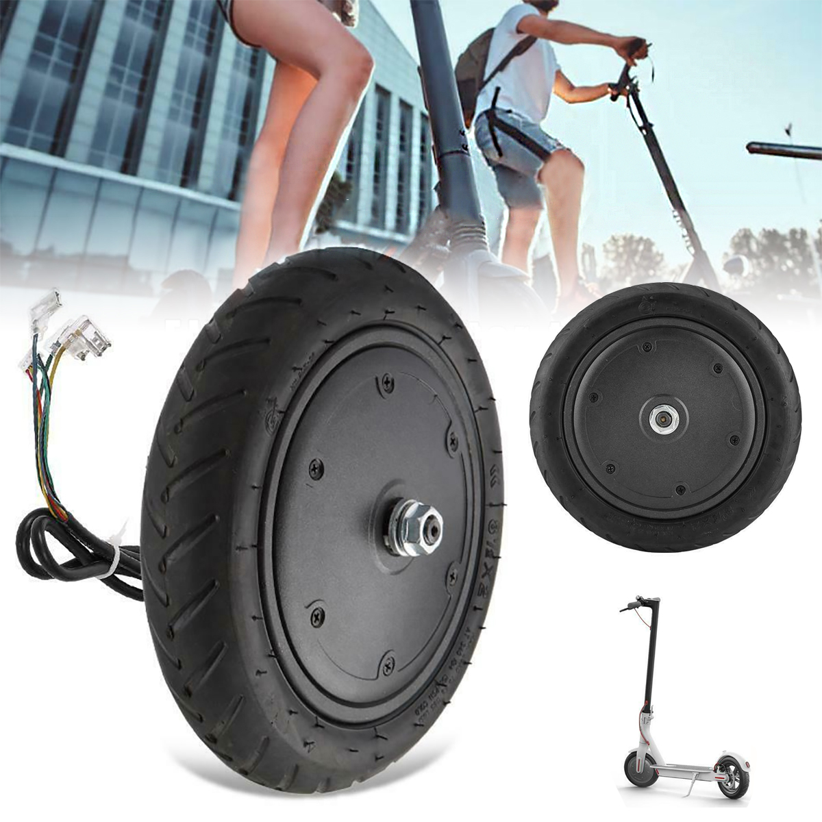 350W 9.8 Inch Scooter Motor Explosion Proof Brushless Hub Motor Wheels Tire Ideal Replacement for M365 Electric Scooter