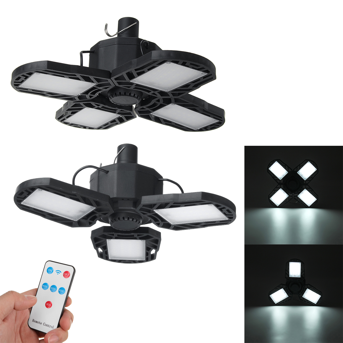XANES® 120W Remote Control Solar Camping Light 5-Modes USB Charging Waterproof LED Light Outdoor Foldable Emergency Lamp